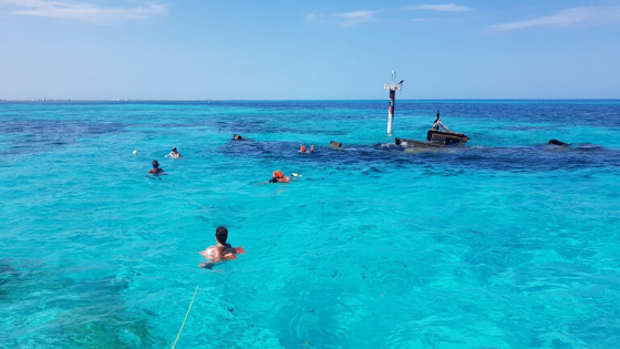 Snorkeling in sunken ship in Isla Mujeres Mexico
