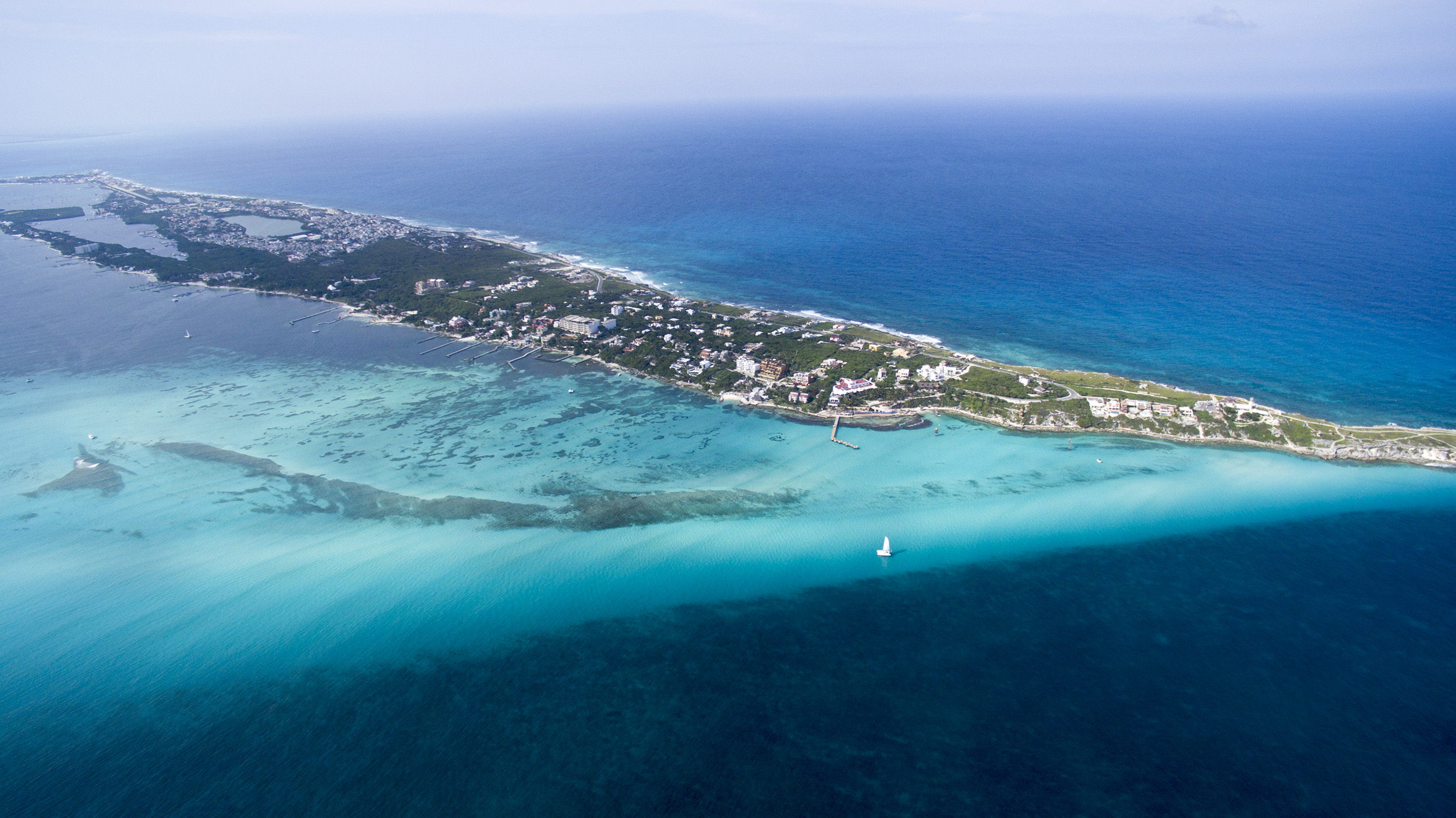 Comple island of Isla Mujeres Mexico from an Aerial Photo