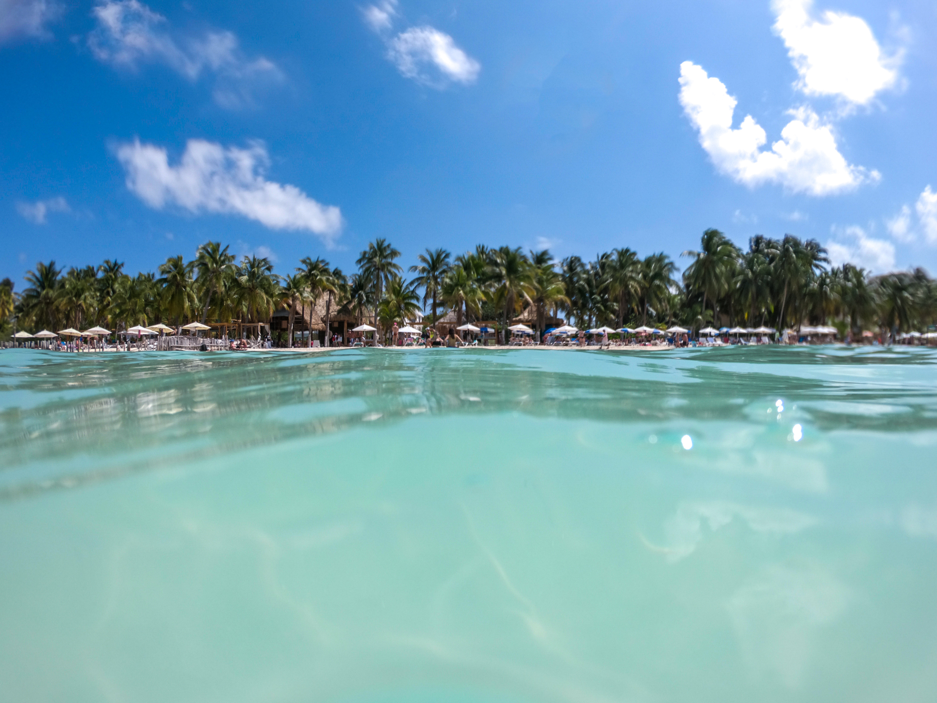 Calm turqoise waters at North Beach in Isla Mujeres Mexico